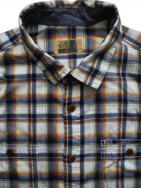 Мужская рубашка в клетку цветная сочная Marks&Spencer XL