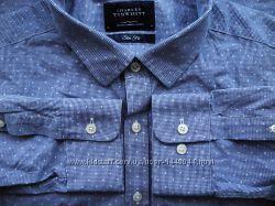 Мужская рубашка голубая синяя в горошек Charles Tyrwhitt XL