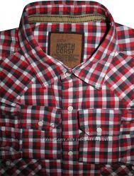 Мужская рубашка на кнопках сочная в клетку North Coast L XL