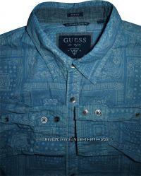 Мужская рубашка синяя голубая туманная Guess М