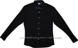 Мужская черная рубашка стрейч приталенная Asos L M