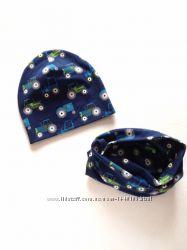 Детский демисезонный комплект шапка шапочка и хомут 6 мес-5 лет