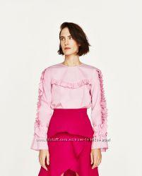 до8. 03 Супер стильная нежная рубашка блузка розовая с волананами 100 хлопо