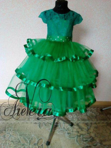 5ffa6996b7e Нарядное детское подростковое платье пышное в пол зеленое яркое выпускной