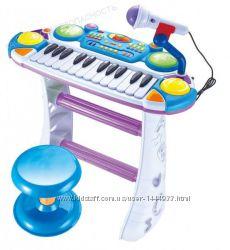 Детское пианино-синтезатор на ножках со стульчиком 2 цвета