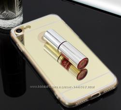 Cиликоновый зеркальный чехол для iphone 7 плюс 8 золотой серебряный розовый
