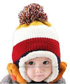 Шапка теплая для девочек и мальчиков Demarkt 1-4 года