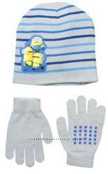 Набор шапка и перчатки Миньоны 1, 5-2 года