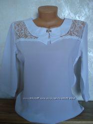 Блузка шифоновая с гипюровой вставкой