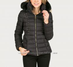 Guess теплая зимняя куртка с капюшоном, черный цвет, размер xl l, оригина