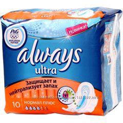 Продампрокладки Always ультра нормал на 4 капли 10 шт. в