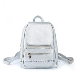 b405d991fa62 Рюкзак женский кожаный серебристый прогулочный стильный модный ранец ...