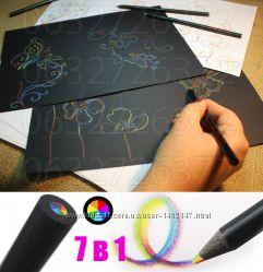 Японський антистрес олівець Kirin Black Pal Rainbow 7 кольорів в 1 грифелі