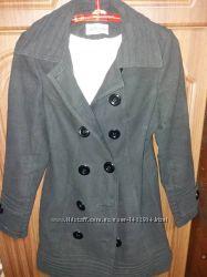 Черное кашемировое двухбортное пальто L р-р VitStyle