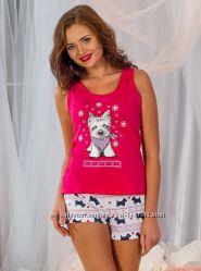 Малиновая футболка пижамная