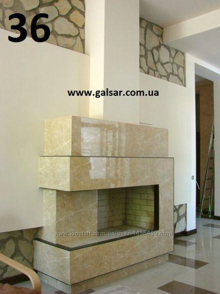 Декоративный камин из натурального камня, мрамора и гранита