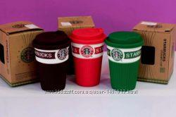 Кружка керамическая Starbuсks с силиконовой крышкой, 300 мл