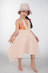 Новые комплекты-платье  с жемчужинками и шляпка, хлопок. Размеры 122-140.