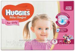 Подгузники Huggies Ultra Comfort для девочек 5 12-22 кг Jumbo Pack, 42 шт
