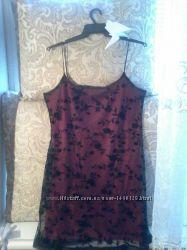 Красное платье pimkie в сеточку с бархатными цветами на бретельках m - l
