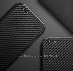 Ультртонкий soft touch чехол iPhone 6, 6s черный карбон