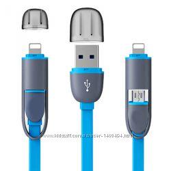 Кабель USB два в одном для Apple и Android