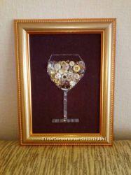 Картина Бокал шампанского. Оригинальный подарок по любому случаю