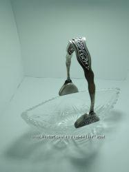 Конфетница ваза ладья СССР хрусталь ручка мельхиор под серебро