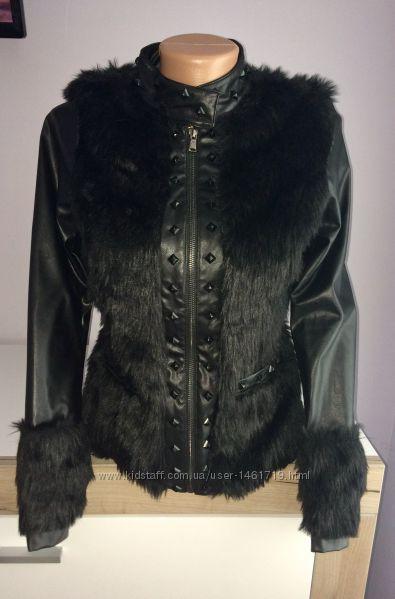 Шикарная куртка, косуха из искусственного меха и кожзаменителя
