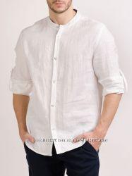 Мужская льняная рубашка, натурального льна. Стандарт и большие размеры