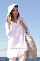 Платье, туника с капюшоном льняная женская, пляжное свободный крой.