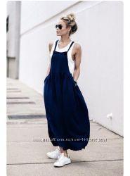 Модный льняной сарафан, с фартушком, карман Пляж, мода 2021. Свободный стил