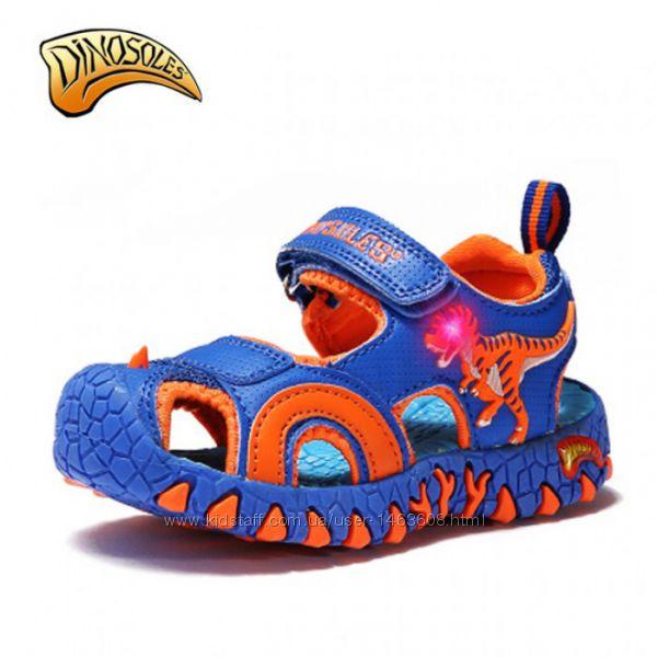 Детские светящиеся сандалии с 3D динозаврами, в ассортименте