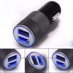 Зарядное устройство в машину на 2 выхода USB  1A2. 1A