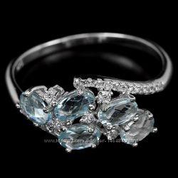 Кольцо топаз голубой натуральный серебро 925