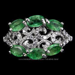 Кольцо изумруд натуральный серебро 925