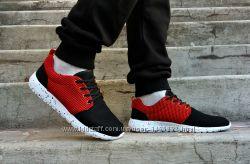 Кроссовки мужские летние черные с красным