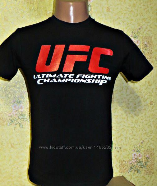Подростковые спортивные футболки Reebok UFC  черная, электрик.