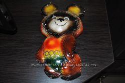 Мишка олимпийский фигурка статуетка на стену яркий редкий