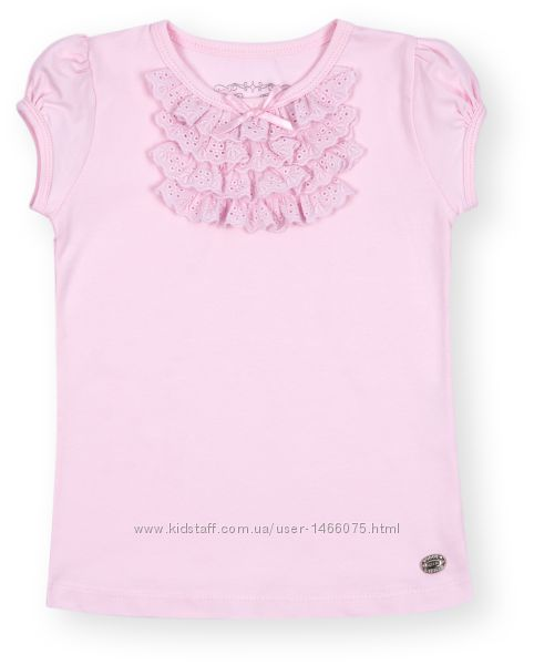 Нарядная футболка с рюшами  для девочки от 1 до 4-х лет.
