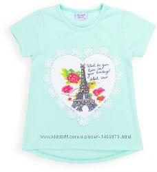 Симпатичная футболка с Эйфелевой башней и бусинами от 4 - 8лет.