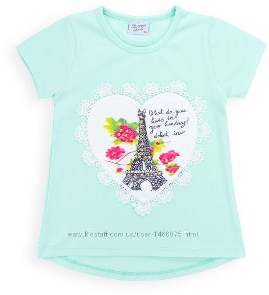 Симпатичная футболка с Эйфелевой башней и бусинами от 4 до 8 лет.