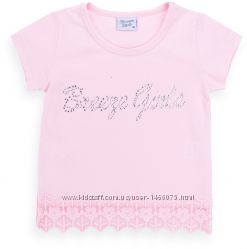 Симпатичная футболка со стразами и кружевом от 3 до 8 лет.
