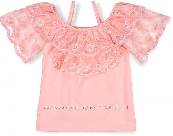 Шикарная блузка с кружевом и на бретелях для девочки на 9 лет.