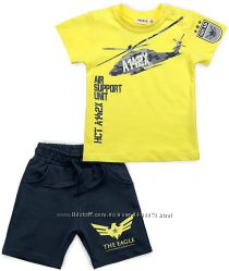 Летний костюм с вертолётом для мальчика футболка и шорты от 9 мес до 3 лет.