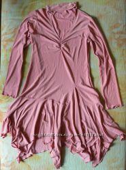 Платье со стразами,  розовое
