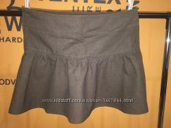 Льняная юбка коричневого цвета