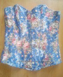 Корсет от груди синий с цветочным принтом на жёстких косточках