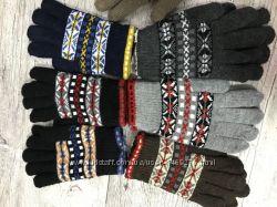 Мужские и женские перчатки двойная вязка