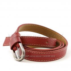 Ремень кожаный узкий Kirpi  Турция 20мм красный с светлой основой